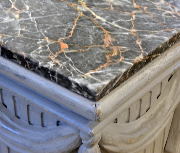 Pair of Neoclassical Carved Gray Painted Gustavian Style Marble Top Pedestals For Sale 3