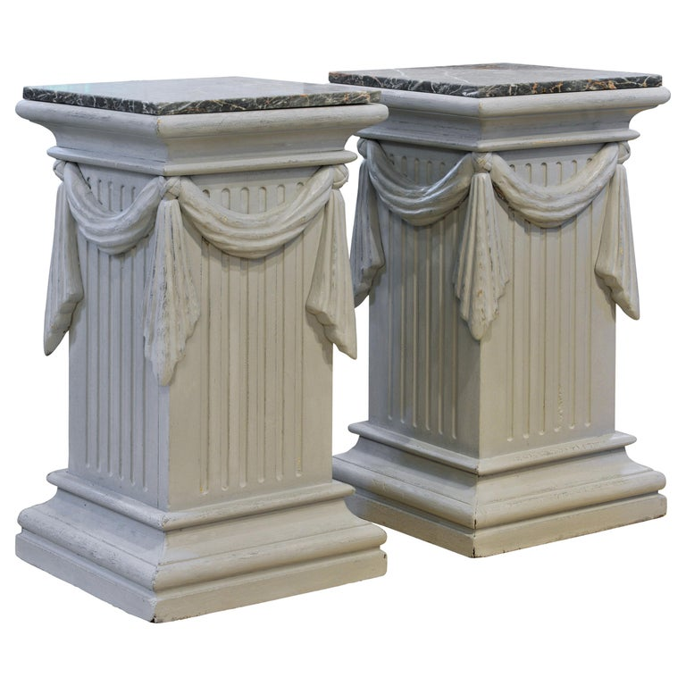 Pair of Neoclassical Carved Gray Painted Gustavian Style Marble Top Pedestals For Sale