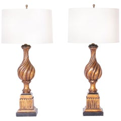 Pair of Neoclassical Carved Wood Table Lamps