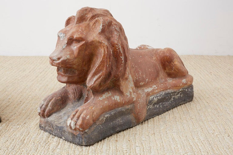 Pair of Neoclassical Cast Stone Recumbent Lion Sculptures For Sale 3