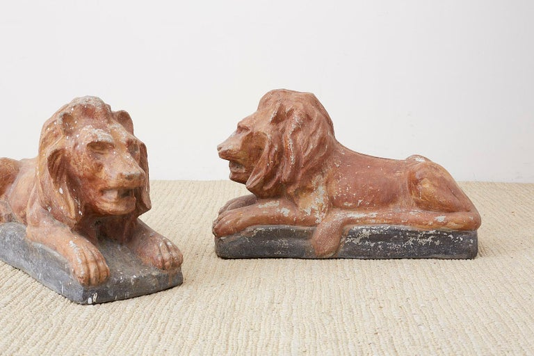 Pair of Neoclassical Cast Stone Recumbent Lion Sculptures For Sale 4