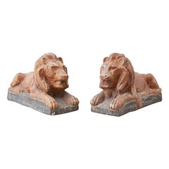 Pair of Neoclassical Cast Stone Recumbent Lion Sculptures