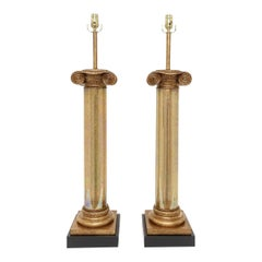 Pair of Neoclassical Column Lamps
