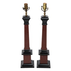 Pair of Neoclassical Column Table Lamps