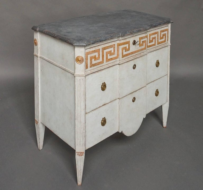 Swedish Pair of Neoclassical Commodes with Greek Key Detail