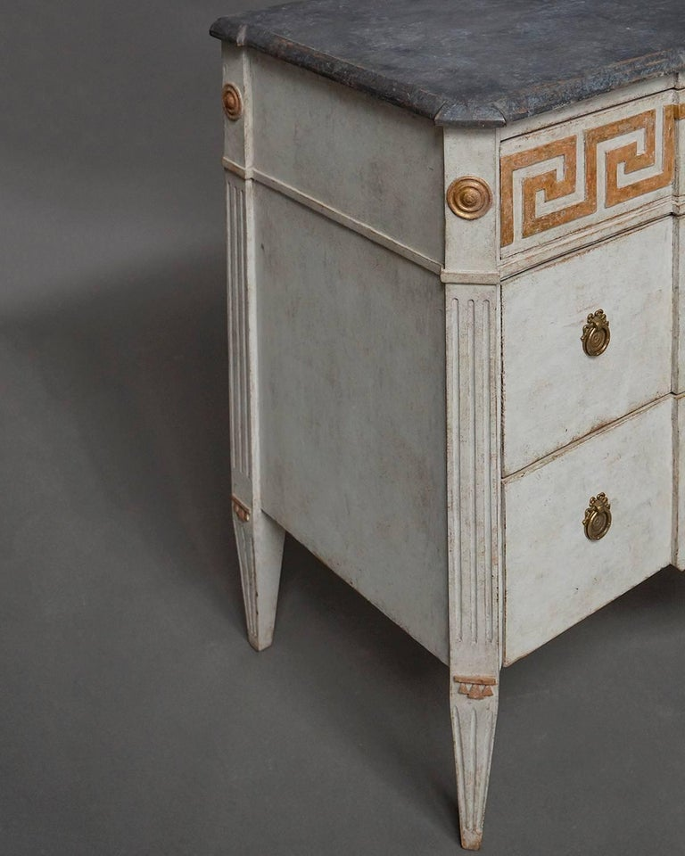 Hand-Painted Pair of Neoclassical Commodes with Greek Key Detail