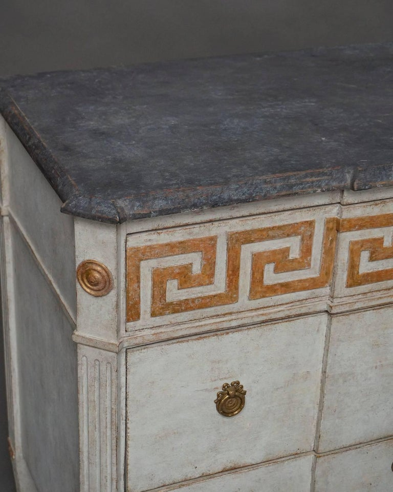 Pair of Neoclassical Commodes with Greek Key Detail In Good Condition In Great Barrington, MA