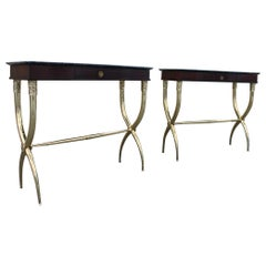 Pair of Neoclassical Console Tables in Mahogany Brass Mid-Century Italian Buffa