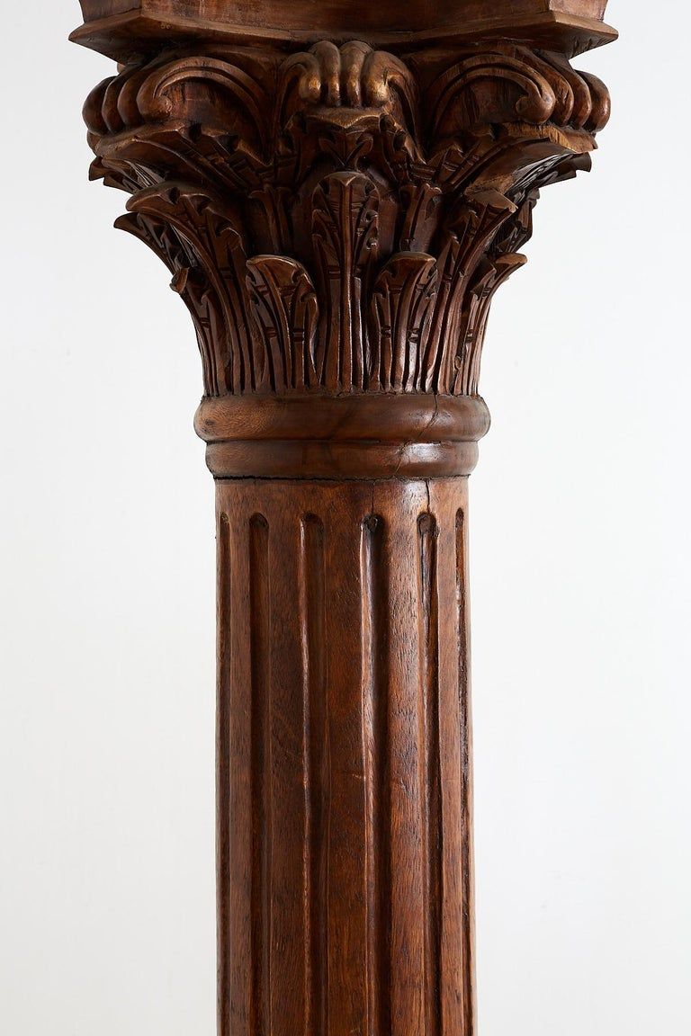 Pair of Neoclassical Corinthian Style Solid Teak Columns