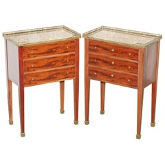 Pair of Neoclassical Cuban Mahogany Marble Topped Brass Gallery Rail Side Tables