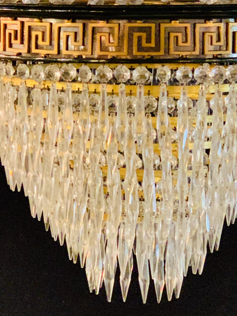 Pair of Neoclassical Ebonized Greek Key Design Bronze & Crystal Chandeliers For Sale 5