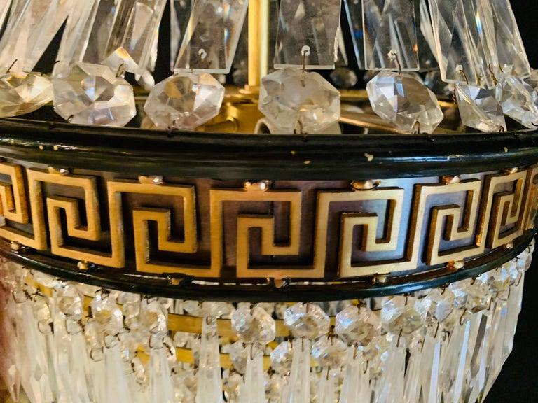 Pair of Neoclassical Ebonized Greek Key Design Bronze & Crystal Chandeliers For Sale 11