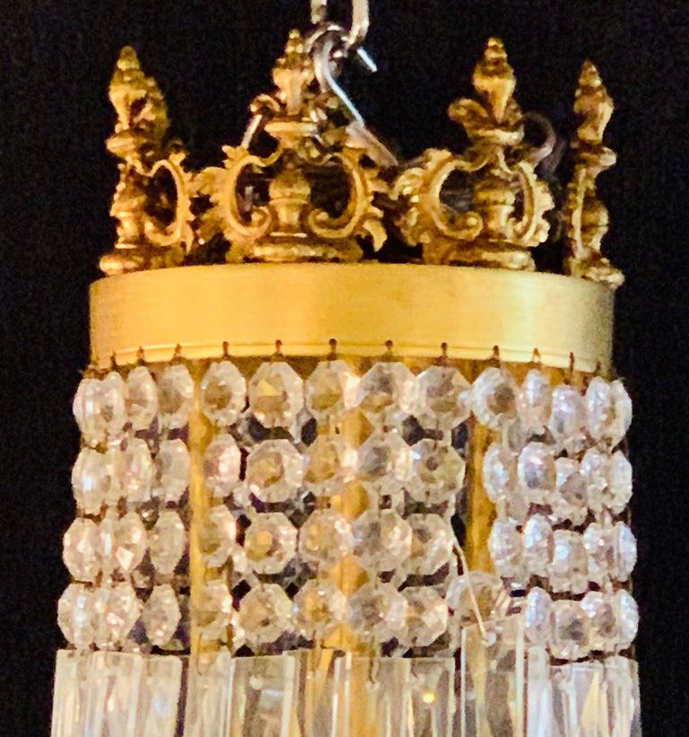 Pair of Neoclassical Ebonized Greek Key Design Bronze & Crystal Chandeliers For Sale 1