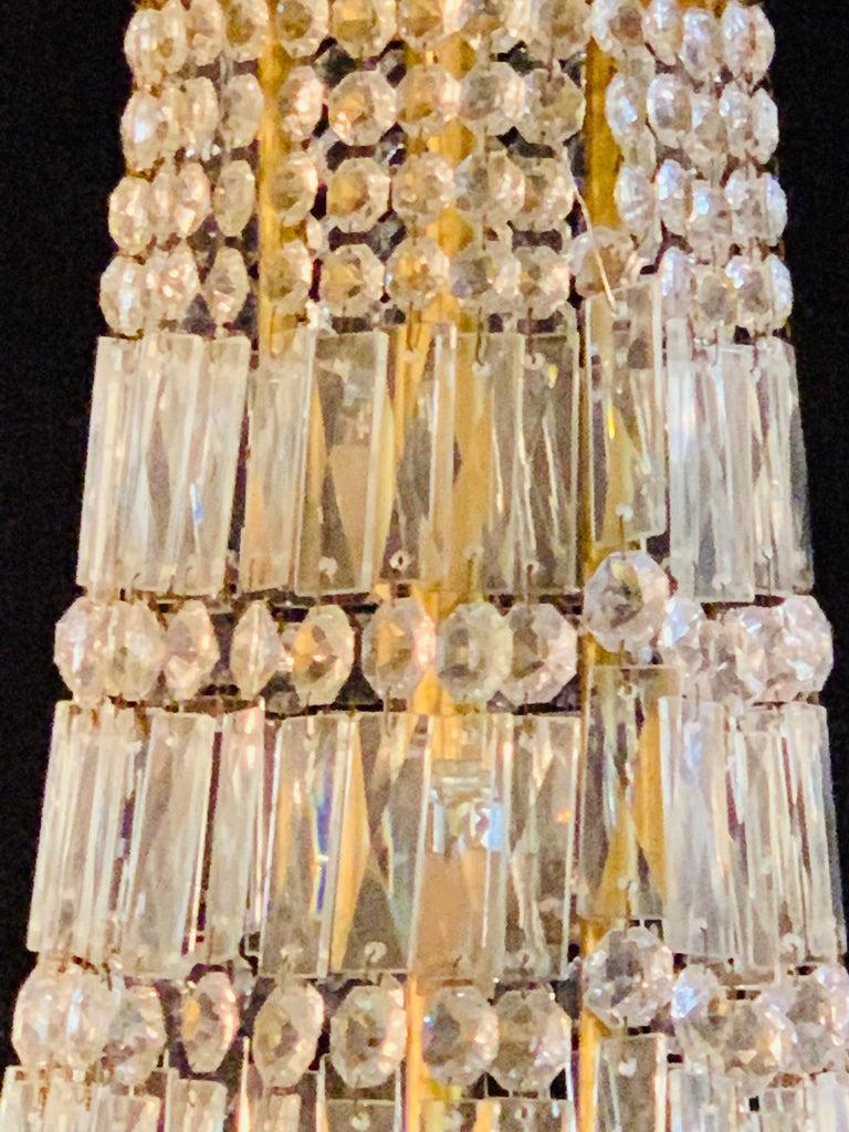 Pair of Neoclassical Ebonized Greek Key Design Bronze & Crystal Chandeliers For Sale 2
