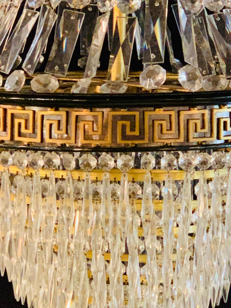 Pair of Neoclassical Ebonized Greek Key Design Bronze & Crystal Chandeliers For Sale 4