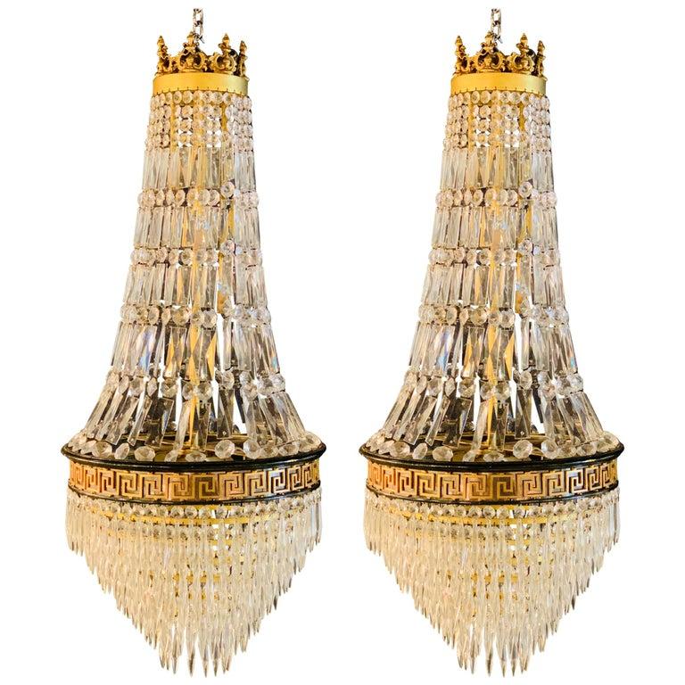 Pair of Neoclassical Ebonized Greek Key Design Bronze & Crystal Chandeliers For Sale