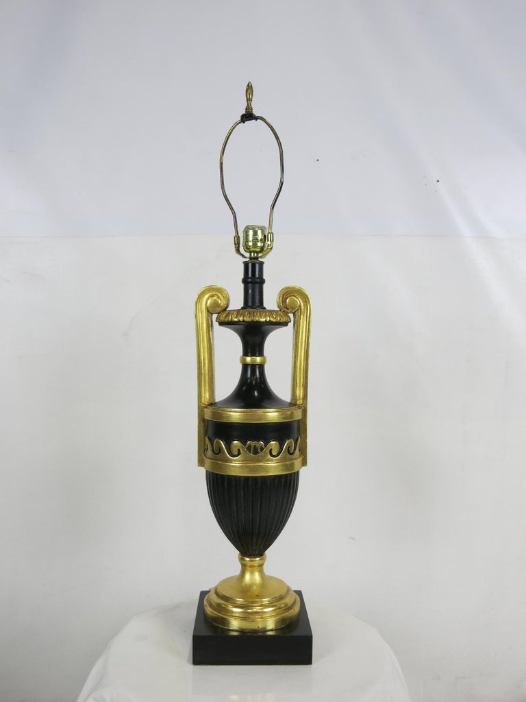 Italian Pair of Neoclassical Ebony and Giltwood Table Lamps by Marbro For Sale