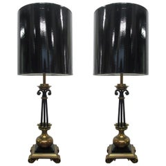 Pair of Neoclassical French Bronze and Wrought Iron Lamps