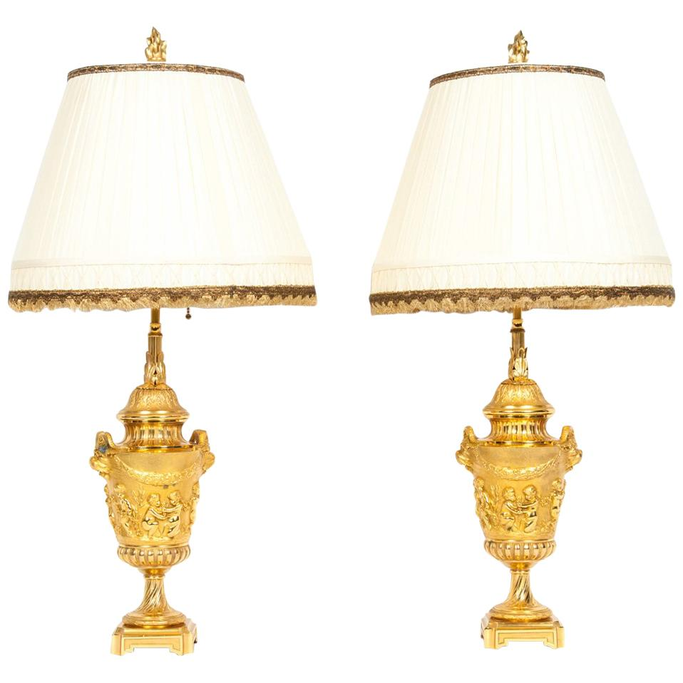 Pair Neoclassical Gilt Bronze Urn Form Table Lamps
