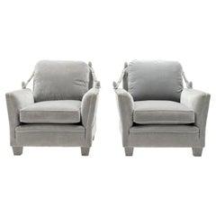 Pair of Neoclassical Grey Velvet Maison Jansen Armchairs, 1970s