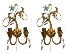 Pair of Neoclassical Handcrafted Italian Gilt Metal and Crystal Sconces by Alba