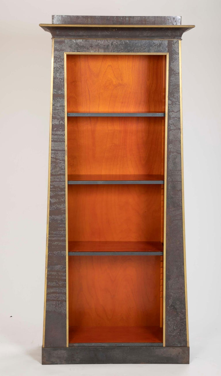 Pair of Neoclassical Style Iron Clad Bookshelves For Sale 7