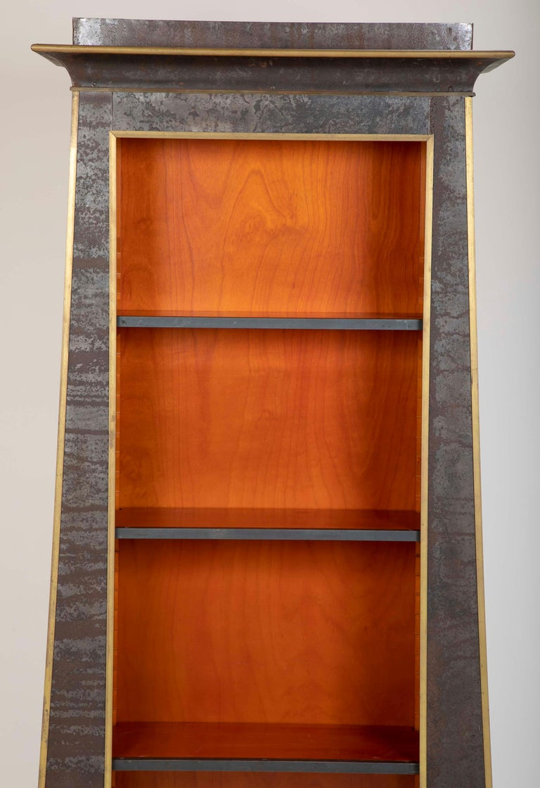 Pair of Neoclassical Style Iron Clad Bookshelves For Sale 8