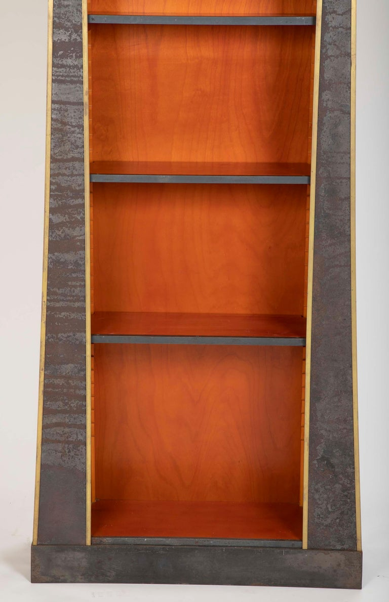 Pair of Neoclassical Style Iron Clad Bookshelves For Sale 9