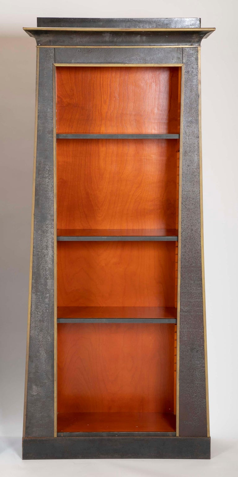 American Pair of Neoclassical Style Iron Clad Bookshelves For Sale