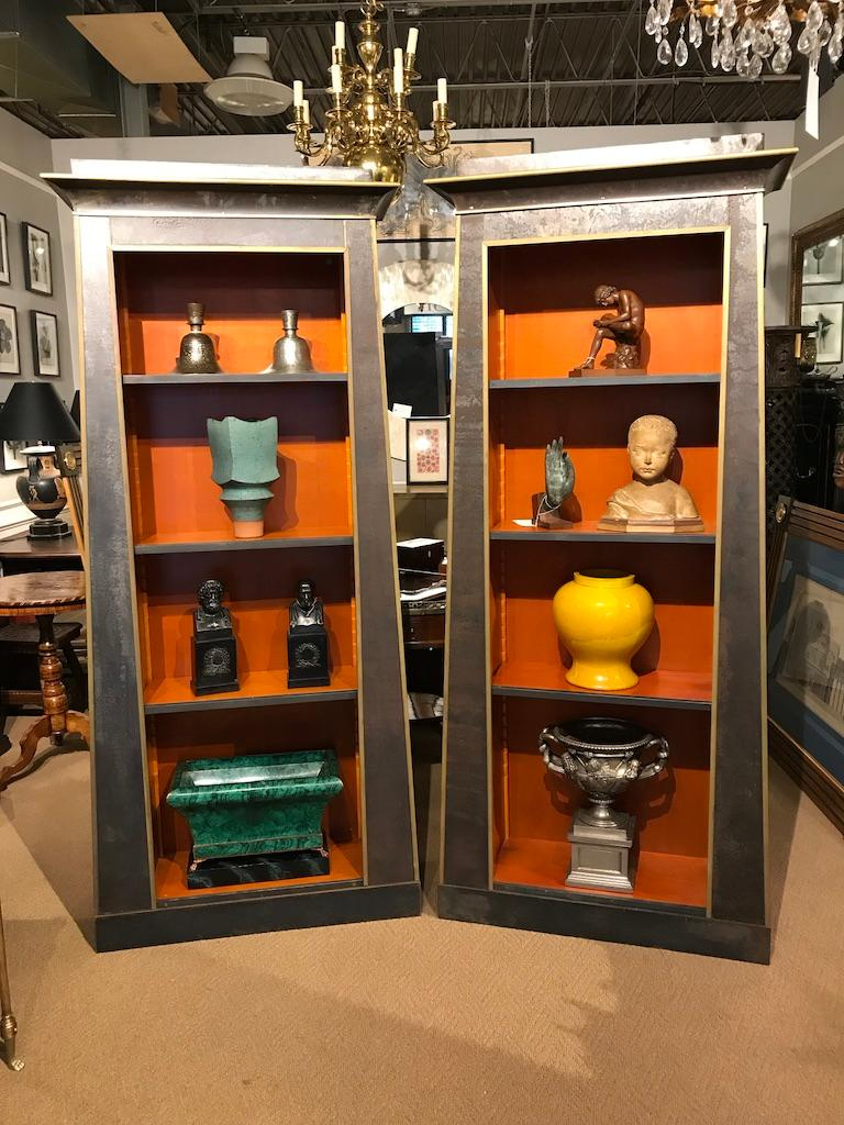 Pair of Neoclassical Style Iron Clad Bookshelves In Good Condition For Sale In Stamford, CT