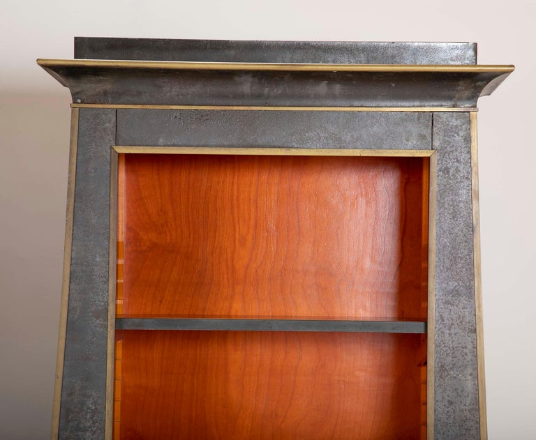 Pair of Neoclassical Style Iron Clad Bookshelves For Sale 1