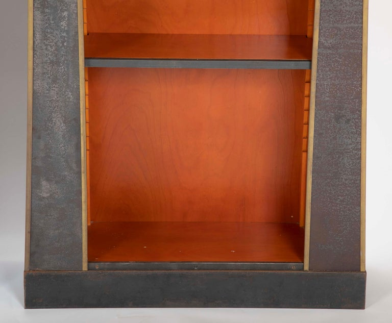 Pair of Neoclassical Style Iron Clad Bookshelves For Sale 2