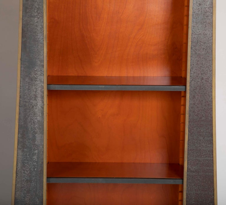 Pair of Neoclassical Style Iron Clad Bookshelves For Sale 3