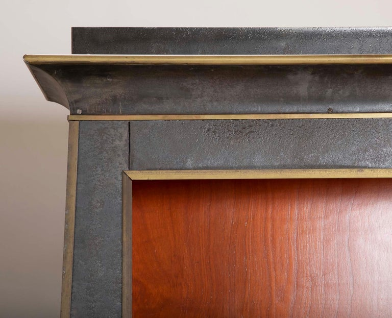Pair of Neoclassical Style Iron Clad Bookshelves For Sale 4