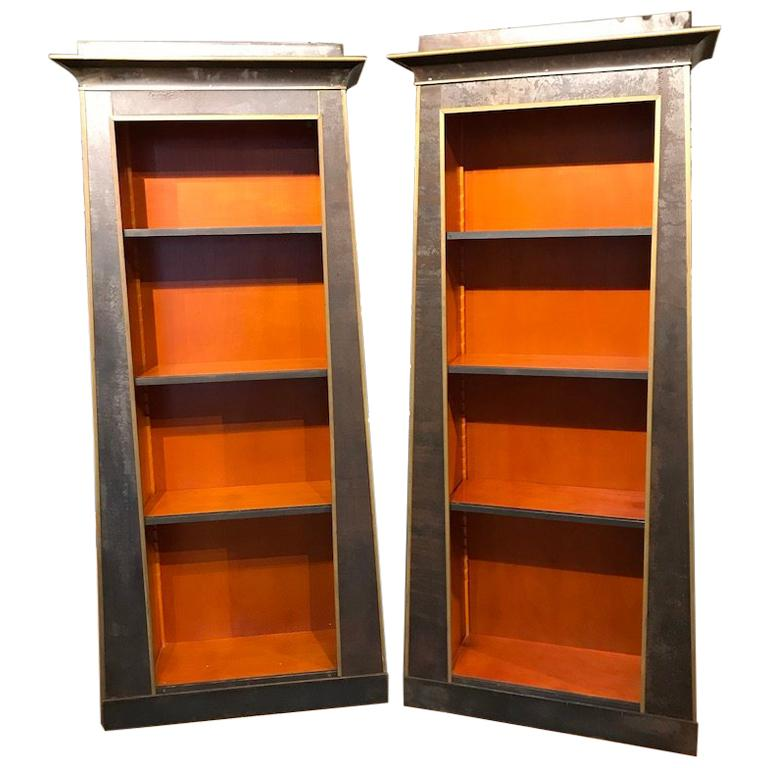 Pair of Neoclassical Style Iron Clad Bookshelves For Sale