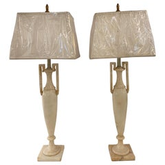 Pair of Neoclassical Italian Marble Lamps