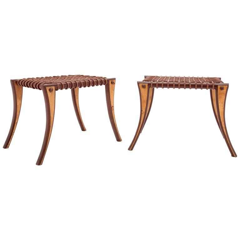 Klismos stools, 1970s, offered by Galerie Gabriel et Guillaume