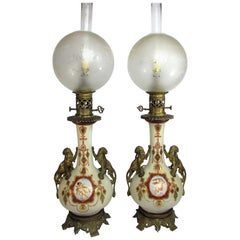 Pair of Neoclassical Lamps in Porcelain and Bronze, 19th Century