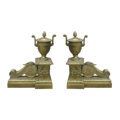 Pair of Neoclassical Louis XVI Style Gilt Bronze Fireplace Chenets, circa 1900