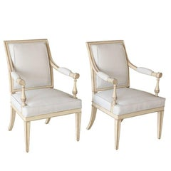 Pair of Neoclassical Louis XVI-Style Painted Armchairs 'Fauteuils'
