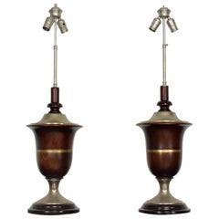 Pair of Neoclassical Mahogany Table Lamps Mexican Modernist Style Luis Barragan