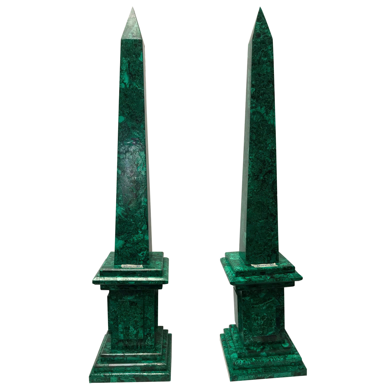 Pair of Neoclassical Malachite Obelisks