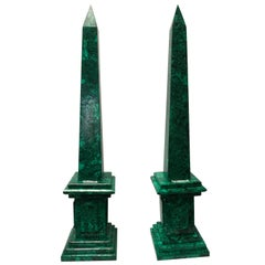 Pair of Neoclassical Malachite Obelisks