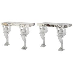 Pair of Neoclassical Marble Console Tables