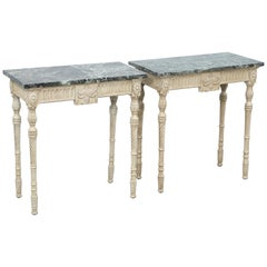 Pair of Neoclassical Marble Top Consoles