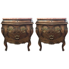 Pair of Neoclassical Marble-Top Three-Drawer Nightstands Bombe Chests
