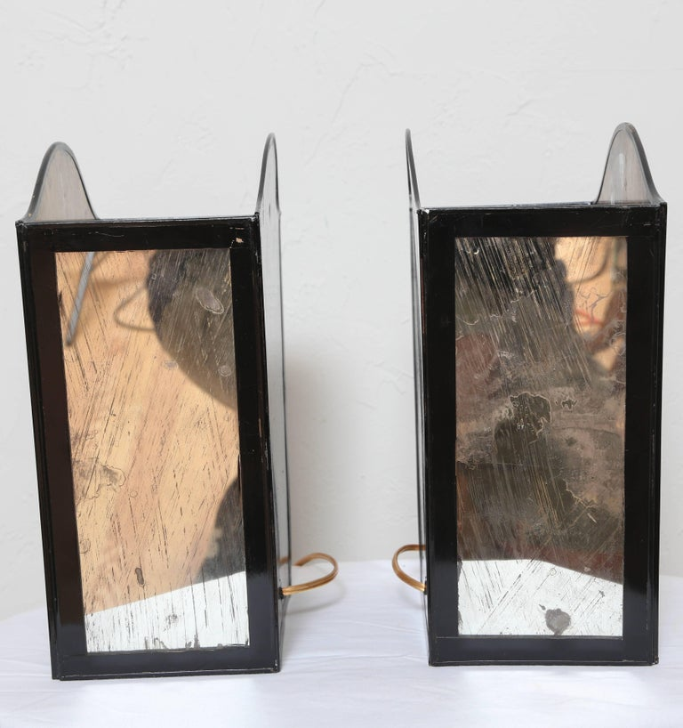Pair of Neoclassical Mirrored Wall Sconces For Sale 4