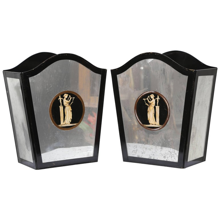 Pair of Neoclassical Mirrored Wall Sconces For Sale