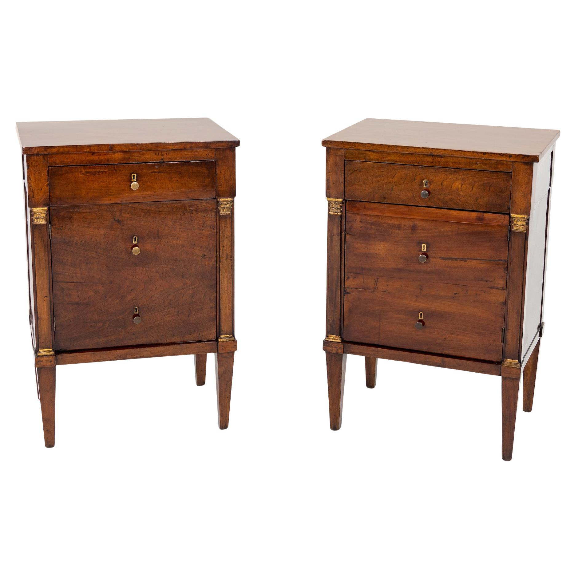 Pair of Neoclassical Nightstands, Italy, circa 1810