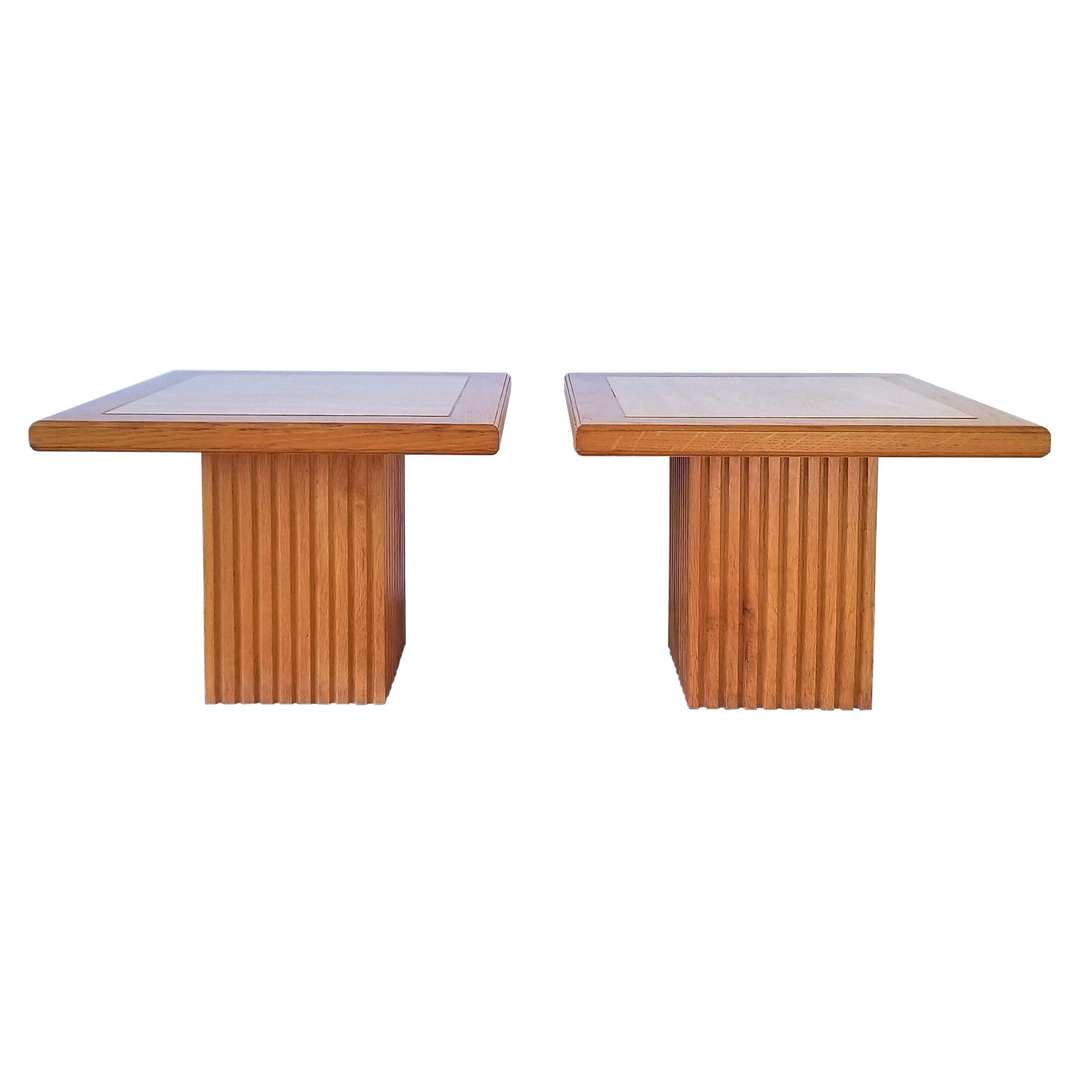 Pair of Neoclassical Oak and Beige Travertine End Tables, France, 1970s